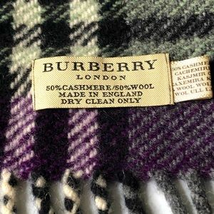 Burberry Cashmere Wool Mens Plaid Scarf